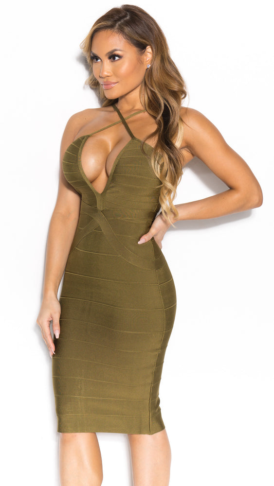 SIA BANDAGE DRESS IN ARMY