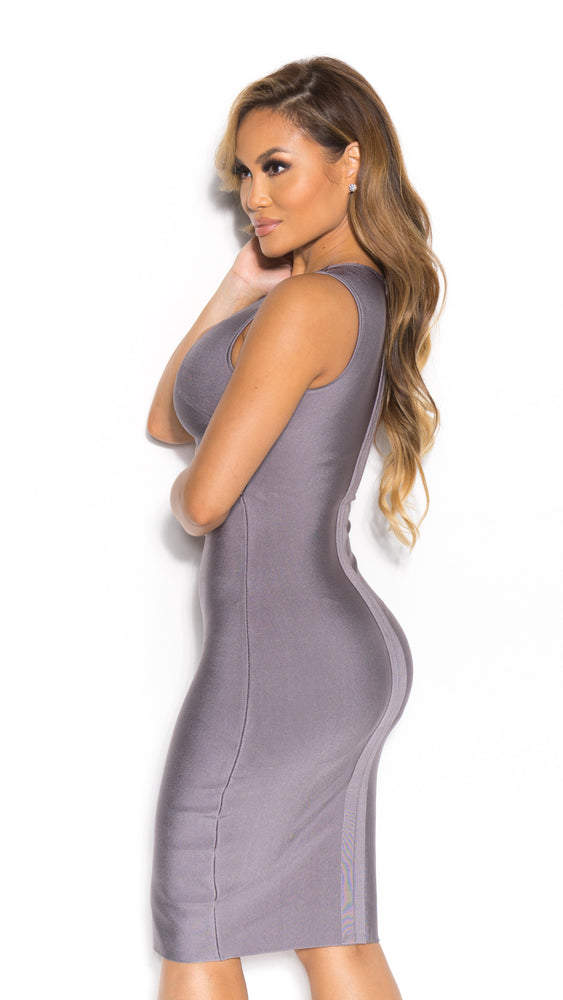 LOLA BANDAGE DRESS IN CHARCOAL