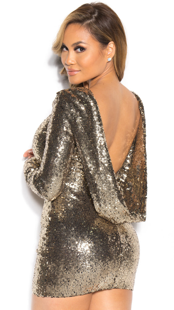 LOVESTONE DRESS IN SEQUIN WITH GOLD