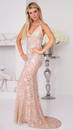 LIV GOWN IN NUDE WITH  CRYSTALS