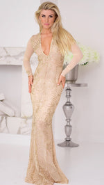 LORA GOWN IN NUDE WITH GOLD