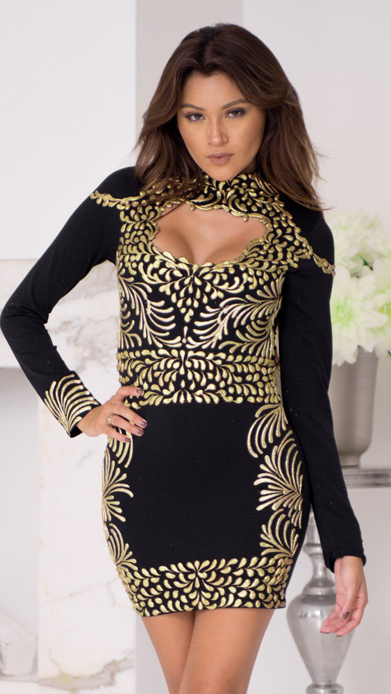 PRIVATE SEAMLESS DRESS IN BLACK WITH GOLD
