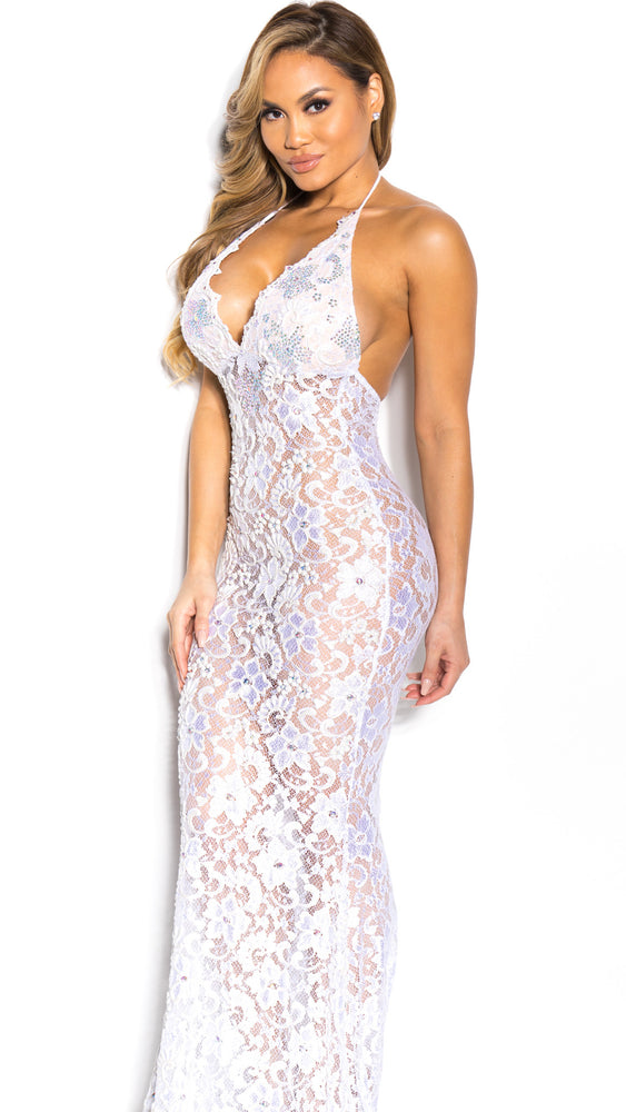 P21 HALF CRYSTAL GOWN IN WHITE