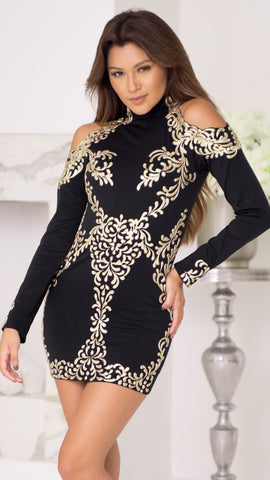 DINA SEAMLESS DRESS IN BLACK WITH GOLD