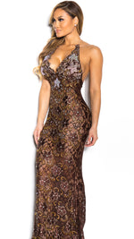 P21 HALF CRYSTAL GOWN IN MOCHA