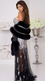 JULIA GOWN IN BLACK WITH CRYSTALS