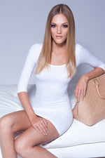 SEAMLESS LONG SLEEVES DRESS IN WHITE