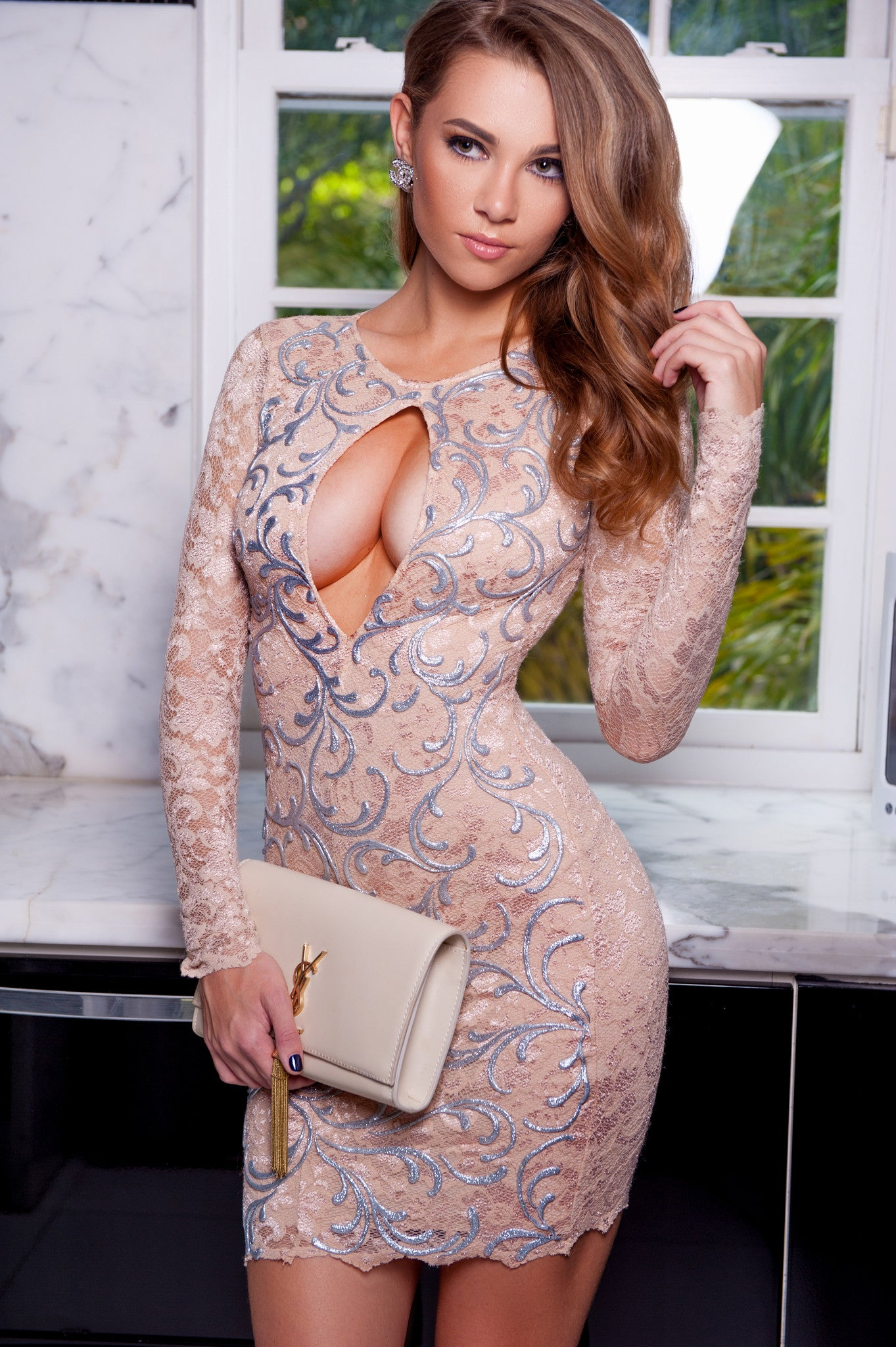 ALEXI LACE DRESS IN NUDE WITH SILVER - HOLT