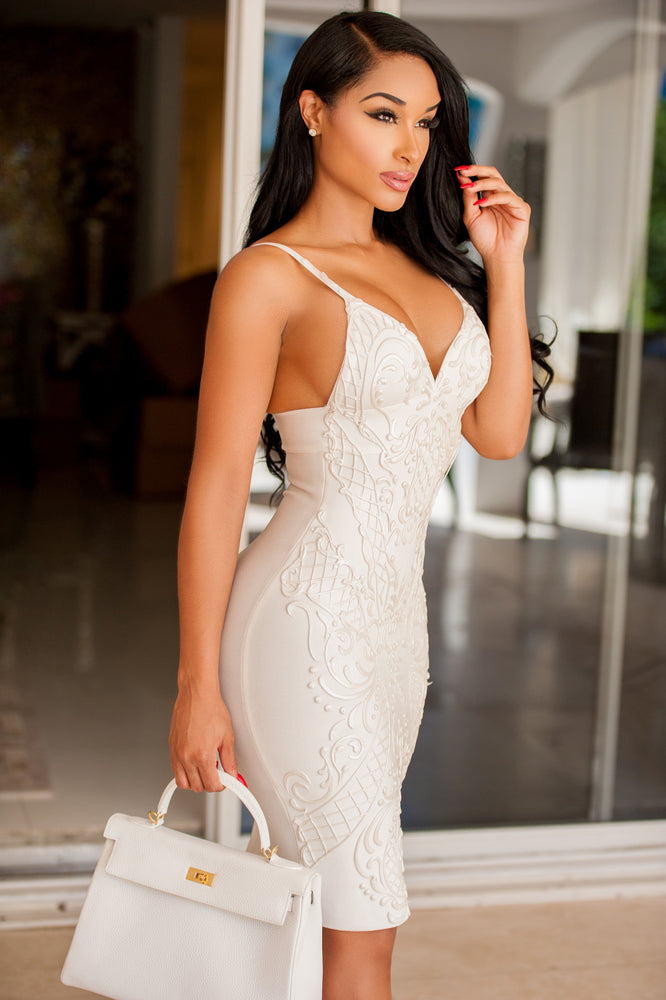 JANE BANDAGE DRESS IN WHITE PAINTED