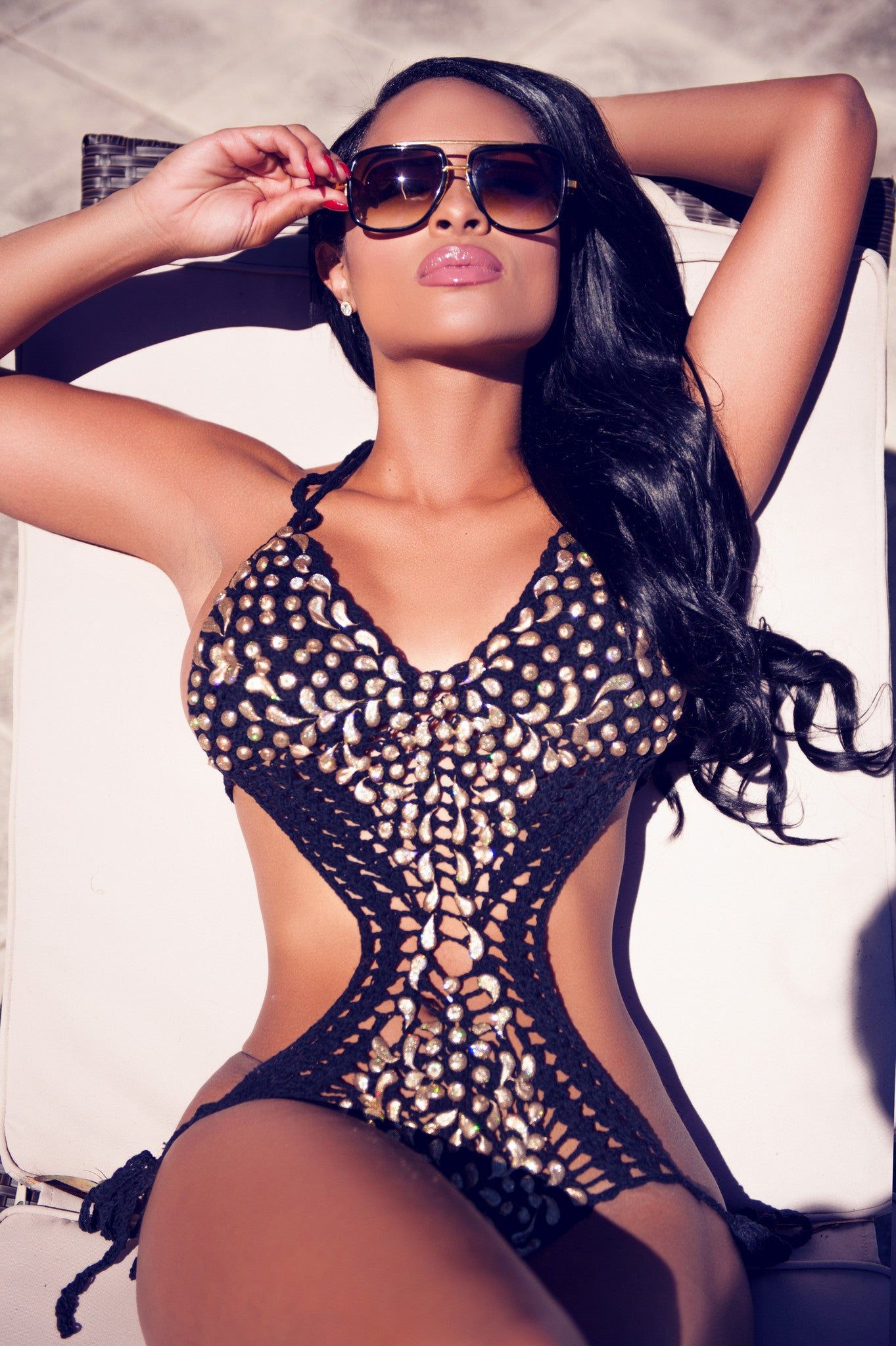 DOLCE CROCHET MONOKINI BLACK WITH GOLD