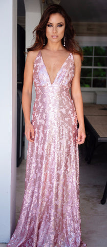LIAM SEQUIN GOWN IN PINK
