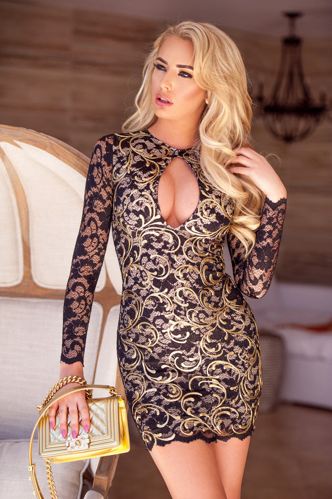 ALE LACE DRESS IN BLACK WITH GOLD