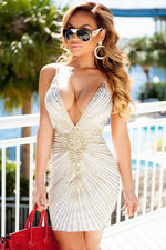 ORIANA DRESS IN WHITE WITH GOLD