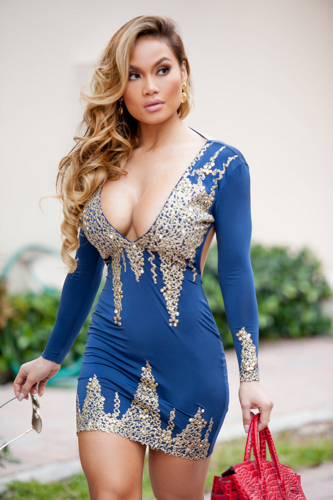 LIMITED EDITION DRESS IN NAVY WITH GOLD