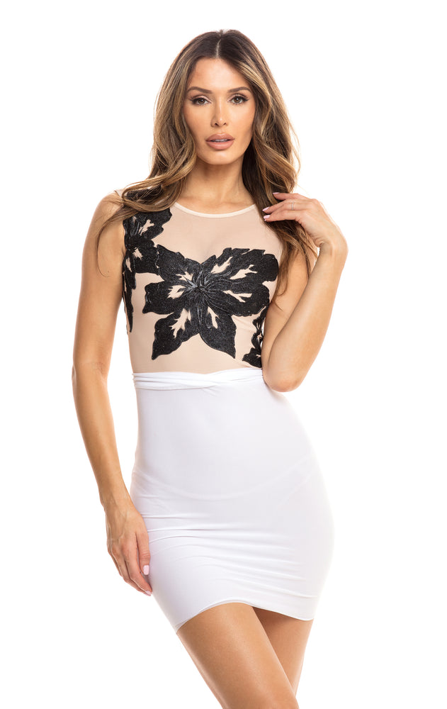 ZINNIA DRESS NUDE AND WHITE  WITH BLACK