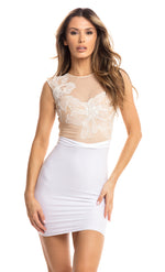 ACACIA DRESS NUDE WITH WHITE