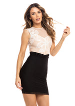 ARIA DRESS NUDE AND BLACK