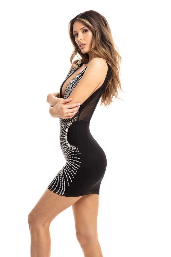ARIA DRESS BLACK WITH SILVER