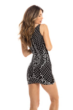 BASTINA  DRESS BLACK WITH SILVER