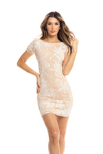 FRANCIA DRESS IN BEIGE WITH WHITE