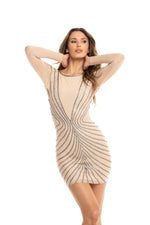 ACONITE DRESS  IN BEIGE WITH SILVER
