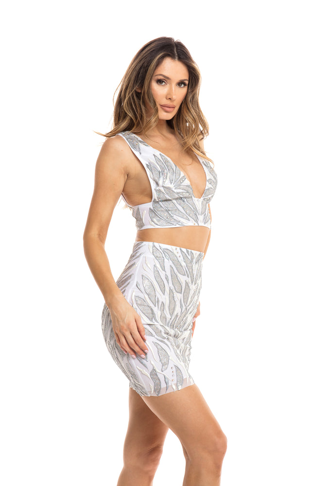 HELICONIA DRESS SET IN WHITE WITH SILVER