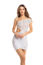ORLENA DRESS IN WHITE WITH SILVER