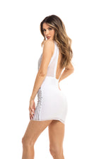 ISMANIA DRESS IN WHITE WITH SILVER