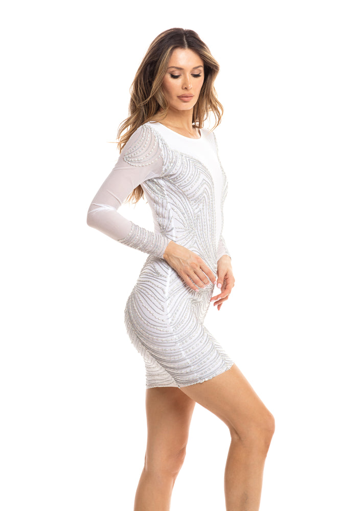 DANI DRESS IN WHITE WITH SILVER