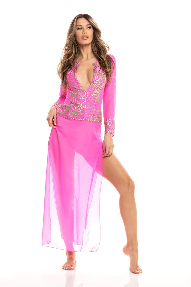 BRIX COVER UP IN HOT PINK WITH GOLD