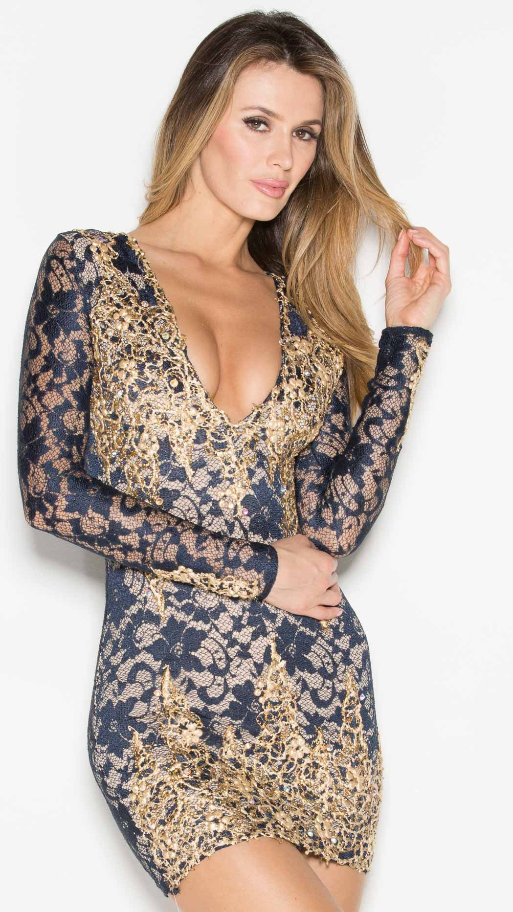 ADDISON LACE DRESS IN NAVY BLUE WITH GOLD - HOLT