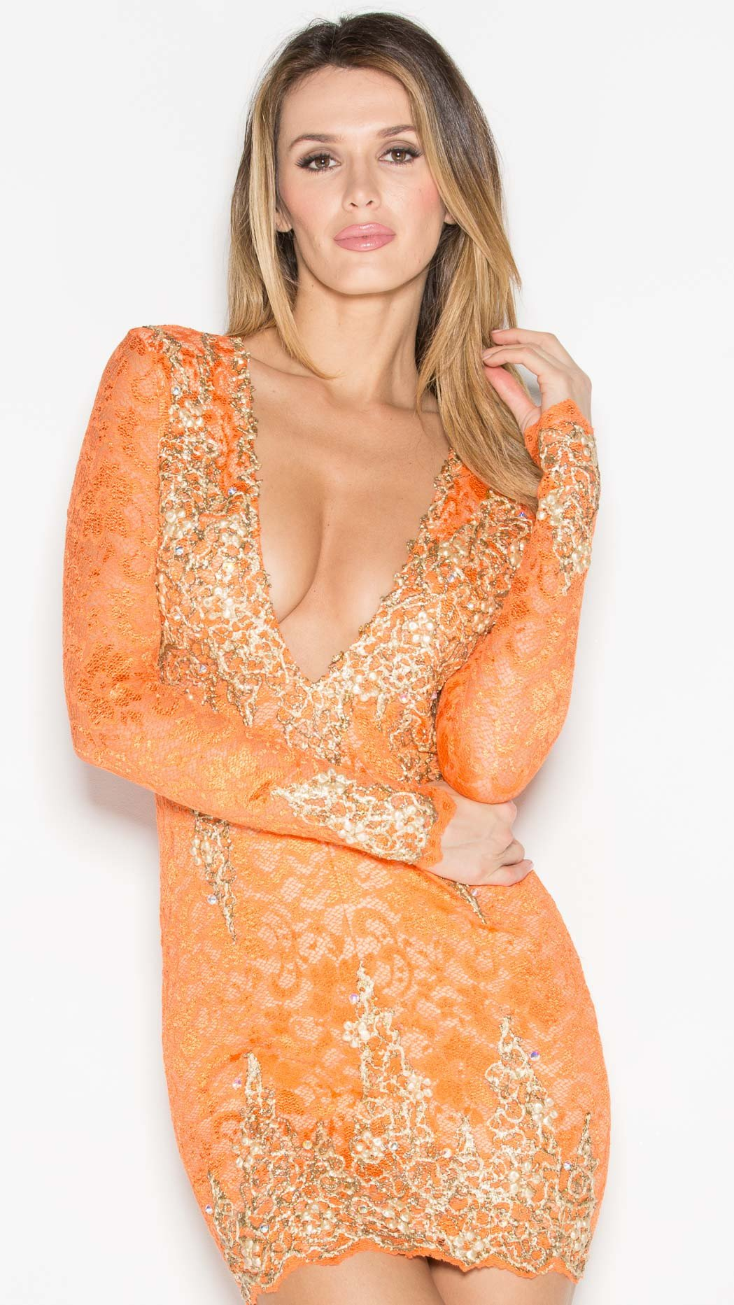 ADDISON LACE DRESS IN ORANGE WITH GOLD - HOLT