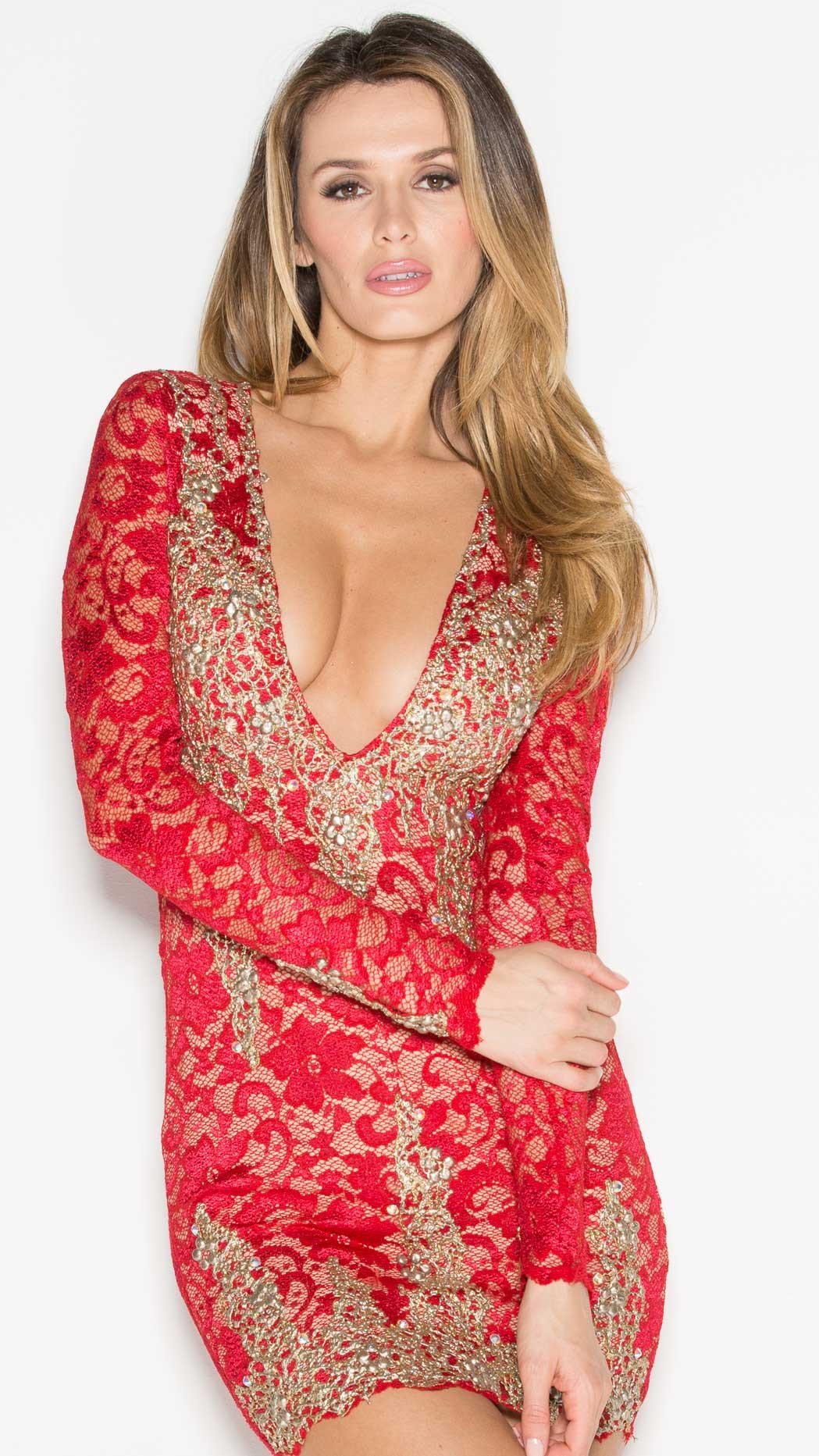 ADDISON LACE DRESS IN RED WITH GOLD - HOLT