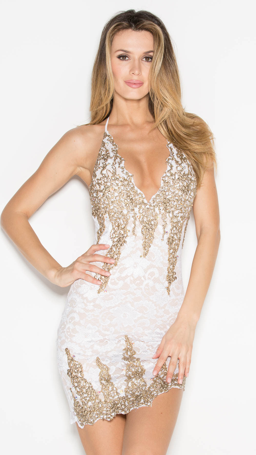 BROOKLYN LACE DRESS IN WHITE WITH GOLD
