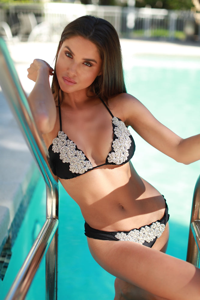 HEAVENLY BIKINI IN BLACK WITH CRYSTALS