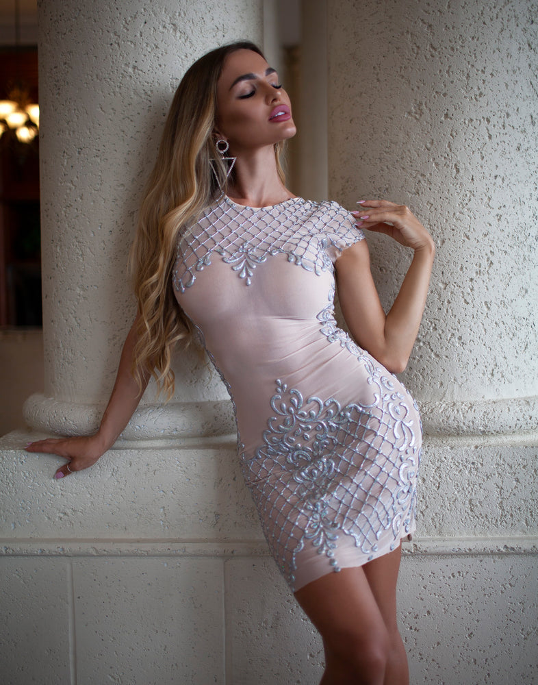 TRINITY DRESS NUDE WITH SILVER