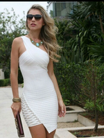 MADELYN BANDAGE DRESS IN WHITE