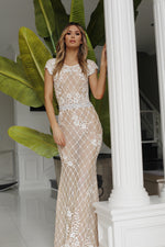 MOKAI GOWN IN NUDE WITH WHITE  WITH CRYSTALS