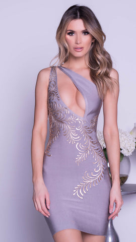 SALINA PAINTED BANDAGE DRESS IN GREY WITH GOLD