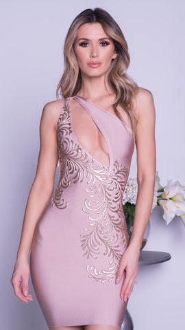 GADO PAINTED BANDAGE DRESS IN PLATINUM