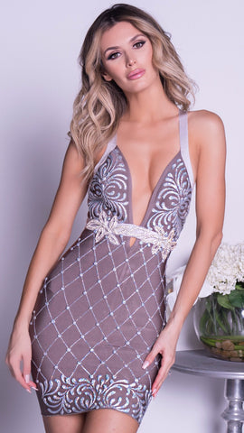 CAVALLARI PAINTED BANDAGE DRESS IN SILVER
