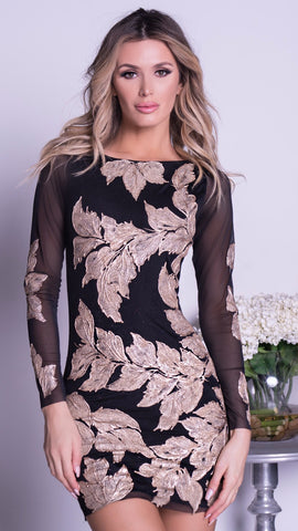 CHAPINE BLACK LACE BODYSUIT WITH CRYSTALS DRESS