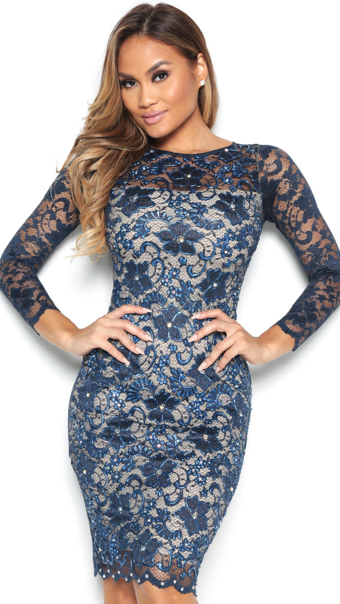 MIDI LACE DRESS IN NAVY