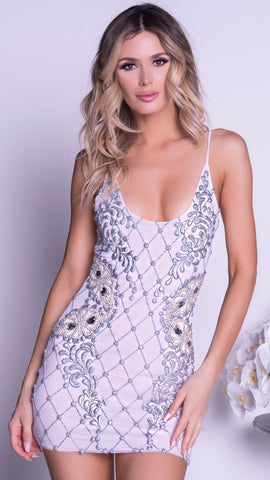 RICKY DRESS IN WHITE WITH CRYSTALS