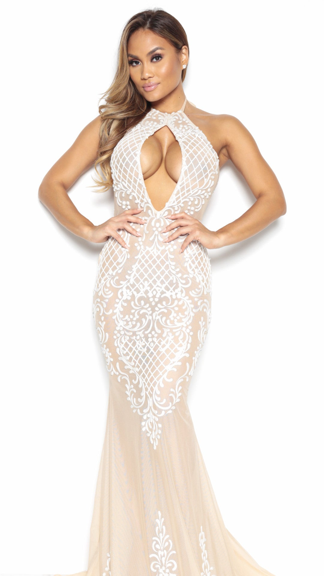 ROSE NUDE GOWN WITH WHITE