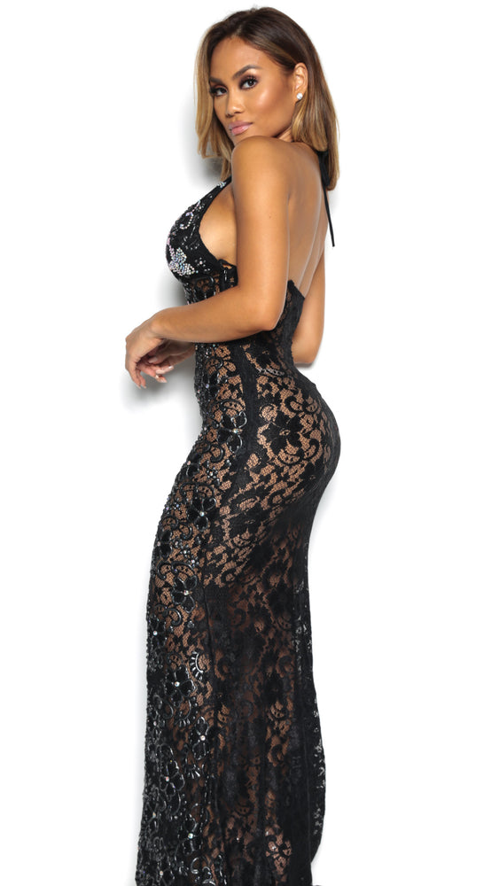 P21 HALF CRYSTAL GOWN IN BLACK