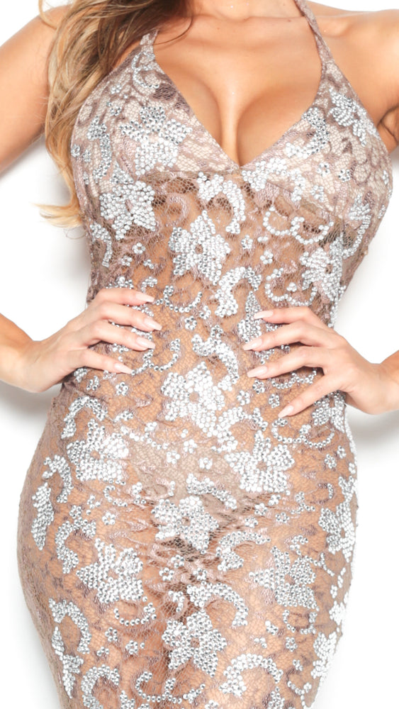 P21 FULL CRYSTAL HALTER GOWN IN TAUPE