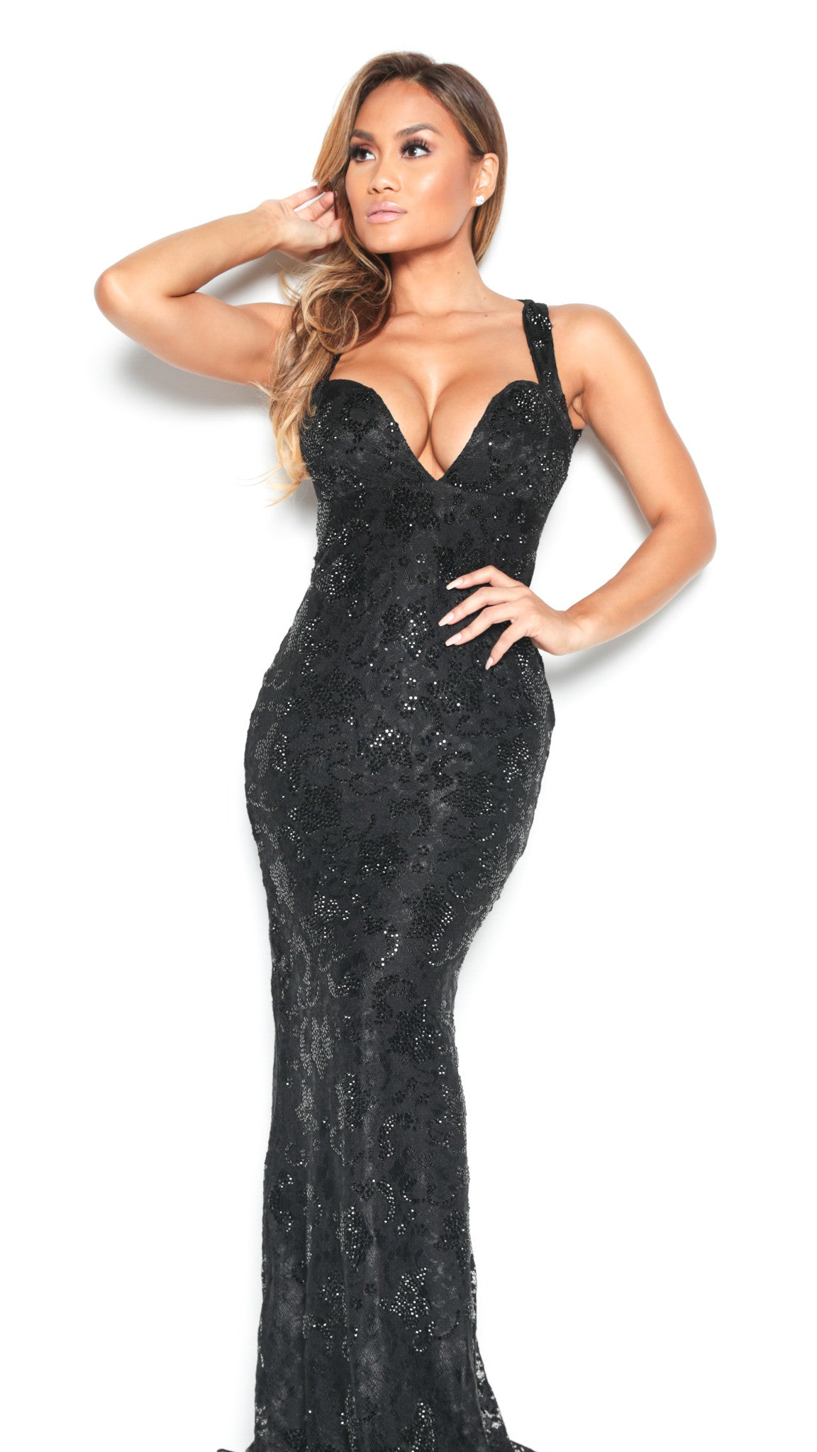 BRIE GOWN FULL CRYSTAL IN BLACK