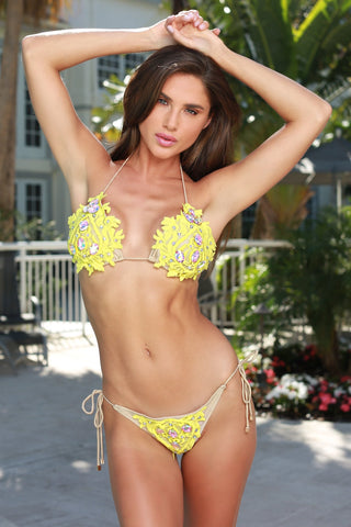 ISABELI BANDAGE  MONOKINI IN YELLOW WITH CRYSTALS