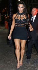 KIM K CHOCKER BANDAGE DRESS